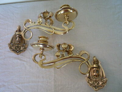 Pair Antique Brass Swivel Candlestick Holder Wall Sconce Piano Candle Nouveau