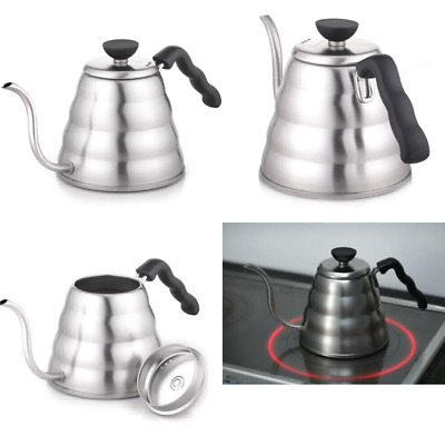 Hario 1.2 Litre 1-Piece Stainless Steel Buono Coffee Drip Kettle, Silver