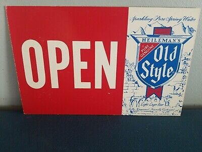 (VTG) 1978 Old Style Beer open/closed Cardboard bar store Sign g heilemans wis