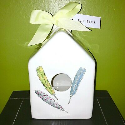 New RAE DUNN Artisan Collection Birdhouse With Feathers By Magenta