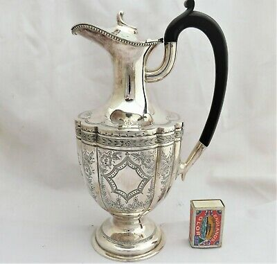 Large Victorian Silver Plated Claret Jug / Water Jug 1890 Mint Condition