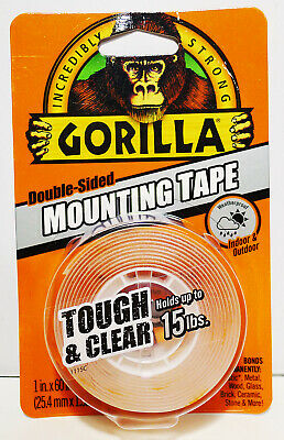 NEW Gorilla Double-Sided Mounting Tape Tough & Clear Holds Up To 15 pounds!