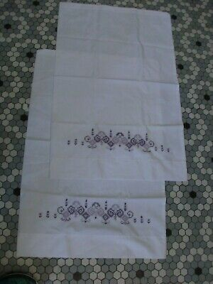Pr Vintage Cotton Blend Pillowcases w Lavender to Purple Cross Stitch Trim