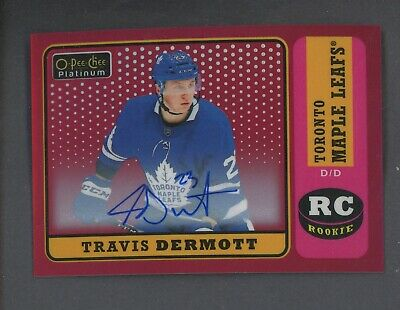 2018-19 OPC Platinum Retro Red Rainbow Autograph Travis Dermott RC