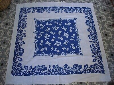 Vintage Blue & White Cotton Floral Print Tablecloth Luncheon Cloth