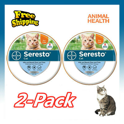 2 Pack-Bayer Seresto Flea Collar for Cats 8 Months and Tick Prevention