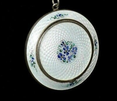 EXQUISITE Antique STERLING Violets DOUBLE SIDED *ENAMEL GUILLOCHE* Compact
