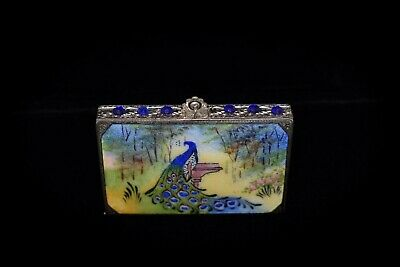 MAGNIFICENT Antique *ENAMEL GUILLOCHE JEWELED* Hand Painted PEACOCK COMPACT