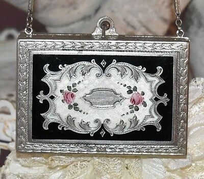 Spectacular Antique Enamel GUILLOCHE Ornate Silver COMPACT Dance PURSE