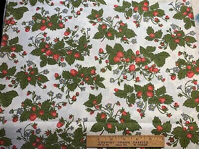 Vintage Cotton Fabric 40s50s CUTE Strawberries Blossoms 36w 1yd