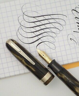 MOORE 'LIFE MANIFLEX' FOUNTAIN PEN c1940s GOLDEN PEARL SHELL, SPRINGY FLEX NIB
