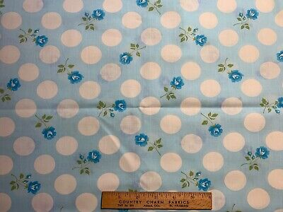Vintage Cotton Fabric 60s70s PRETTY Blue Roses & White Polka Dots 44w 1yd