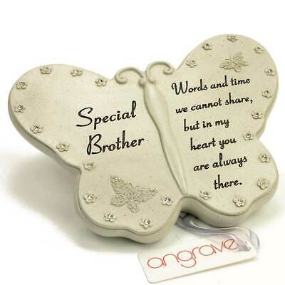 Angraves Special Brother Diamante Butterfly Graveside Grave Memorial Plaque Orna