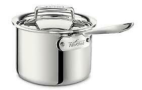 NEW All Clad D5 Stainless Steel Sauce Pan With Lid  2 QT