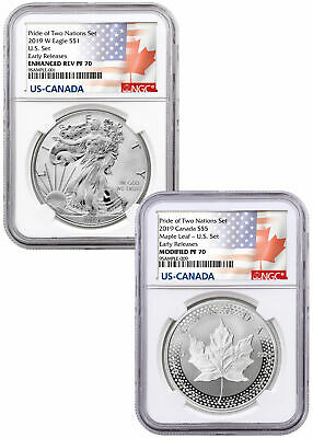 2019 1oz Silver Eagle & Maple Leaf Pride Two Nations NGC PF70 ER PRESLE SKU58642