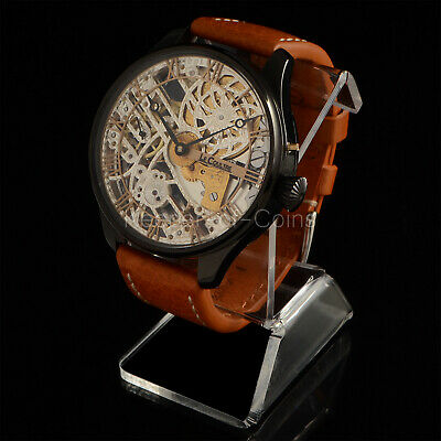 STYLISH LeCOULTRE MEN'S WRIST WATCH SKELETON ENGRAVED 16 SIZE SWISS MOVEMENT