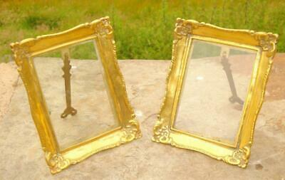 Superb Pair Of Matching Antique Vintage Brass Picture Photograph Photo Frames