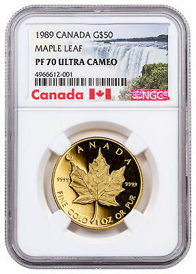 1989 Canada 1 oz Gold Maple Leaf Proof $50 NGC PF70 UC Exclusive Label SKU58455