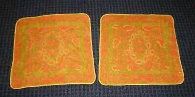 Pair NOS Vtg Sculpted Sears Washcloth Green Gold Red Floral Design
