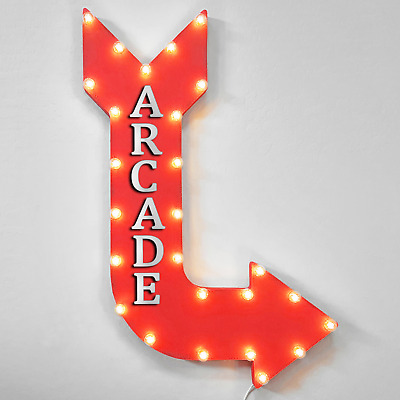 "36"" ARCADE Curved Arrow Sign Light Up Metal Marquee Vintage Games Game Gaming"