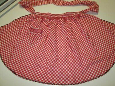 Vintage Hand Made Red & White Embroidered Cotton Gingham Half Apron