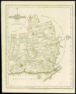 1793 Original Antique MAP of 'MONMOUTHSHIRE' by John Cary Outline Colour (DW122)