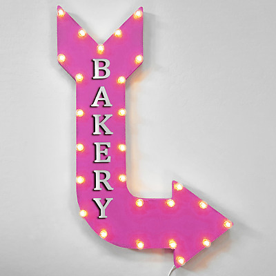 "36"" BAKERY Curved Arrow Sign Light Up Metal Marquee Vintage Cafe Bread Food Eat"