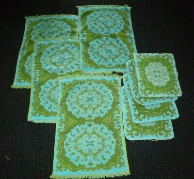8 Pc Set Vtg Sears Sculpted Turquoise & Avocado Green Hand Towel & Washcloth