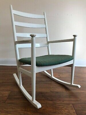 Vintage Mid Century 1960s Danish NIELS EILERSON Design Painted Rocking Chair.