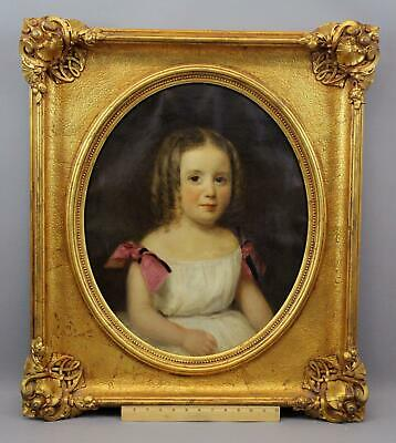 19thC Antique American Young Girl Portrait Oil Painting & Gold Gilt Frame