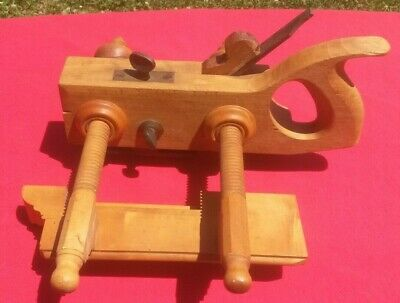 Vintage Screw Arm Plow Plane - Boxwood? - Signed D.r. Barton Rochester Free Ship