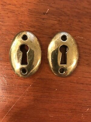 "2 Antique Vintage Style Oval Brass Key Hole Escutcheon Cover 1 1/8"" x 1 11/16"""