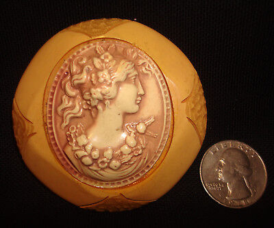 Vintage Butterscotch Bakelite & Celluloid Carved Large Round Cameo Brooch Pin
