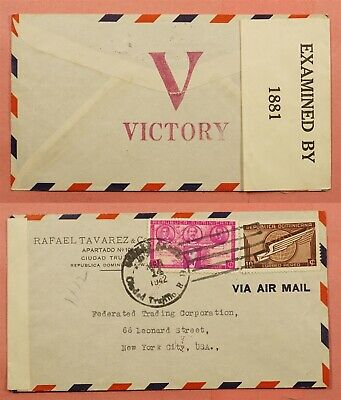 1942 Dominican Republic V For Victory Hand Stamp Airmail To Usa Wwii Censored
