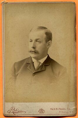 Albany, NY, Portrait of a Young Man, ID'd, by Rabineau, circa 1890 Backstamp