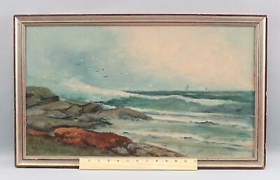 Antique D.A.FISHER Maine Rocky Coast Seascape Maritime Oil Painting w/ Seagulls