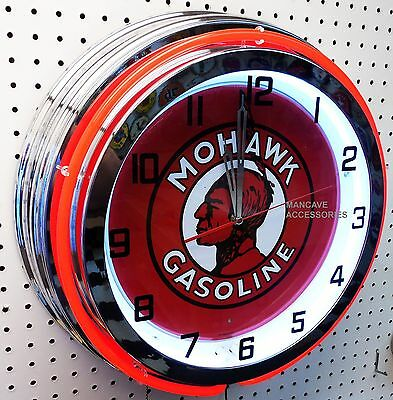 """18"""" MOHAWK Gasoline Sign Double Neon Clock Gas Station Lube"""
