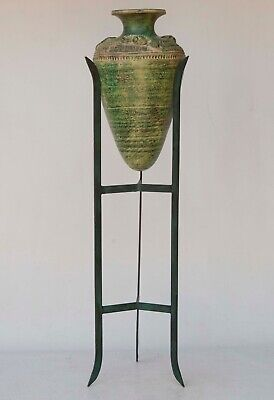 """Large Reproduction Roman Pottery Amphora / Vase on Metal Stand 37"""" tall"""