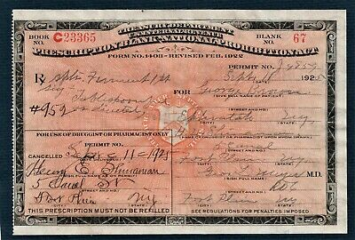 Original Prohibition Liquor Prescription Old 8/15 1925 Doctor Pharmacy Bar NY