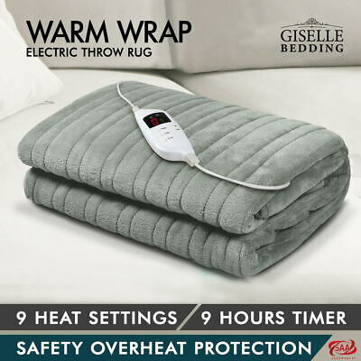 Giselle Bedding Washable Heated Electric Throw Rug Fleece Snuggle Blanket Silver