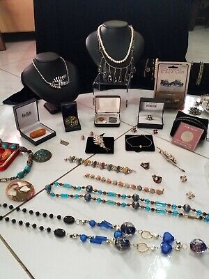 Estate Bulk Lot Of Vintage And Costumes Jewellery Includes Amber And Crystal