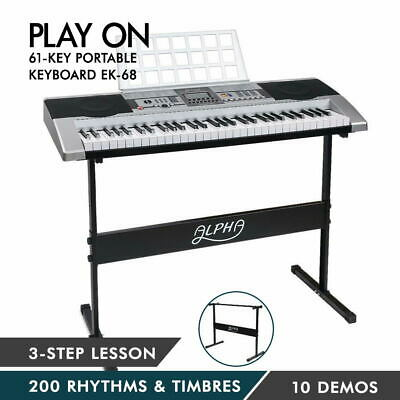 ALPHA 61 Keys Electronic Piano Keyboard LCD Electric Holder Music Stand Adaptor