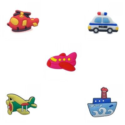 5pcs/lot Lovely Vehicle Cars Planes Boats PVC Jibbiz Shoe Charms Shoe Buckles