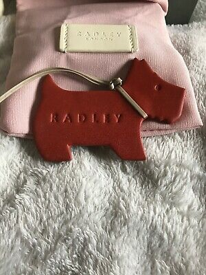 NEW RARE  DESIGN GENUINE RADLEY BROWN LEATHER SCOTTY DOG HANDBAG CHARM TAG