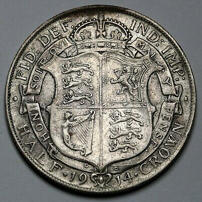 1914 UK Great Britain Halfcrown Coin KM# 818.1  Sterling Silver Coin