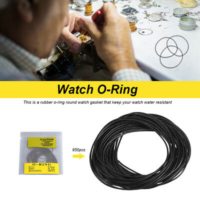 950pcs 0.5-0.7mm O Ring Rubber Seal Washers Watch Case Back Gaskets Replacement