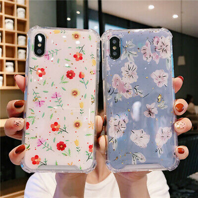 Shockproof Elegant Floral Plant Epoxy Case Cover For iPhone XS Max XR X 8 7 6s +