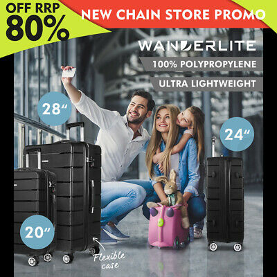 Wanderlite 3PC PP Luggage Sets Suitcases TSA Travel Lightweight Hard Case BK