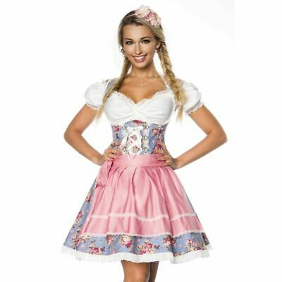 Dirndl with Premium Blouse Made of Fine Denim Rosenprint Blue White Rosa Size XL