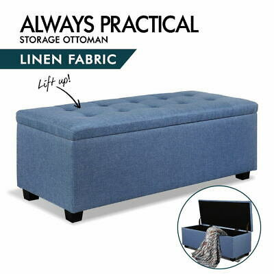 Artiss Blanket Box Ottoman Storage Linen Fabric Foot Stool Chest Toy Bed Blue
